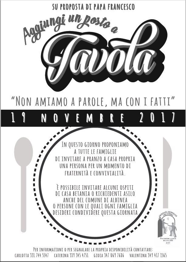 Domenica 19 novembre aggiungi un posto a tavola in occasione della giornata mondiale dei - Aggiungi un posto a tavola 12 ottobre ...
