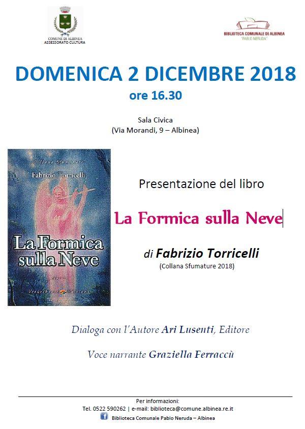 """Domenica 2 dicembre in sala civica """"Formica sulla neve ..."""